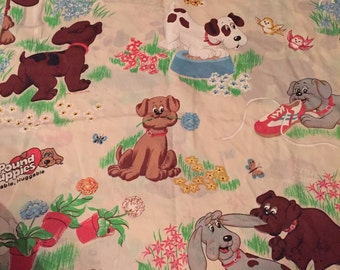 Vintage Pound puppies twin size flat sheet