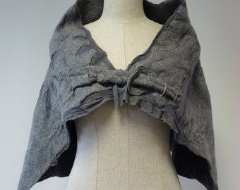 Amazing feminine felted cape. One-of-a-kind,artsy look.