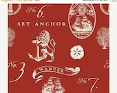 20% Off Hidden Cove Emblems, Nautical Fabric from Windham Fabrics by Sue Schlabach.  Beach Decor Fabric; Gorgeous!