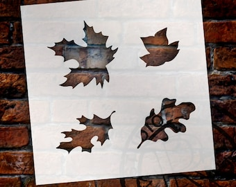 Happy Fall Leaves Stencil Set - Set of 4 - Select Size - STCL927 - by StudioR12