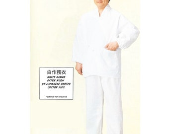 Japanese Zen Monk's Comfy Work Cloth, SAMUE, White 100% Cotton from Japan NS8959