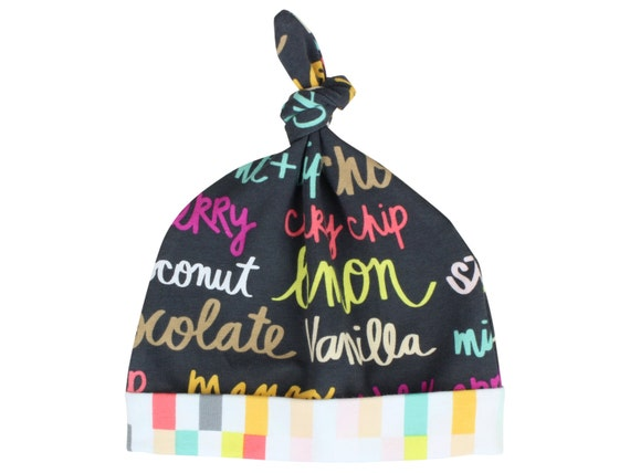 Flavor of the Day Ice Cream Top Knot Hat Girl Baby Beanie Hat Baby Newborn Beanie Toddler Slouch Beanie Baby Girl Gift Infant Top Knot Hat