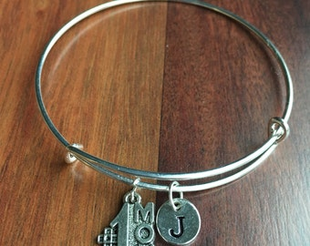 Worlds greatest mom initial bracelet, No. 1 Mom charm, mother's jewelry, silver mom charm, gift for mothers day, gift for mom