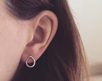 Tear drop minimal hoop ring sterling silver stud earrings