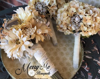 Rustic Brooch Bouquet Set - Champagne Bouquet Set - Hydrangea Bouquet - Hydrangea Brooch Bouquet - Rustic Bouquet - Champagne Hydrangeas