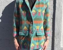vintage aztec pendleton pastel print woven new mexico southwestern native american jacket