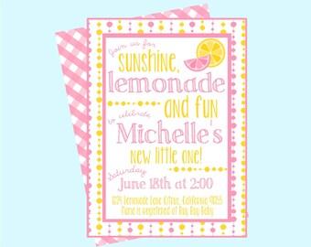 Pink Lemonade Baby Shower Invitation. Sunshine, Lemonade and Fun. Lemonade Baby Shower. Personalized Digital Invitation.