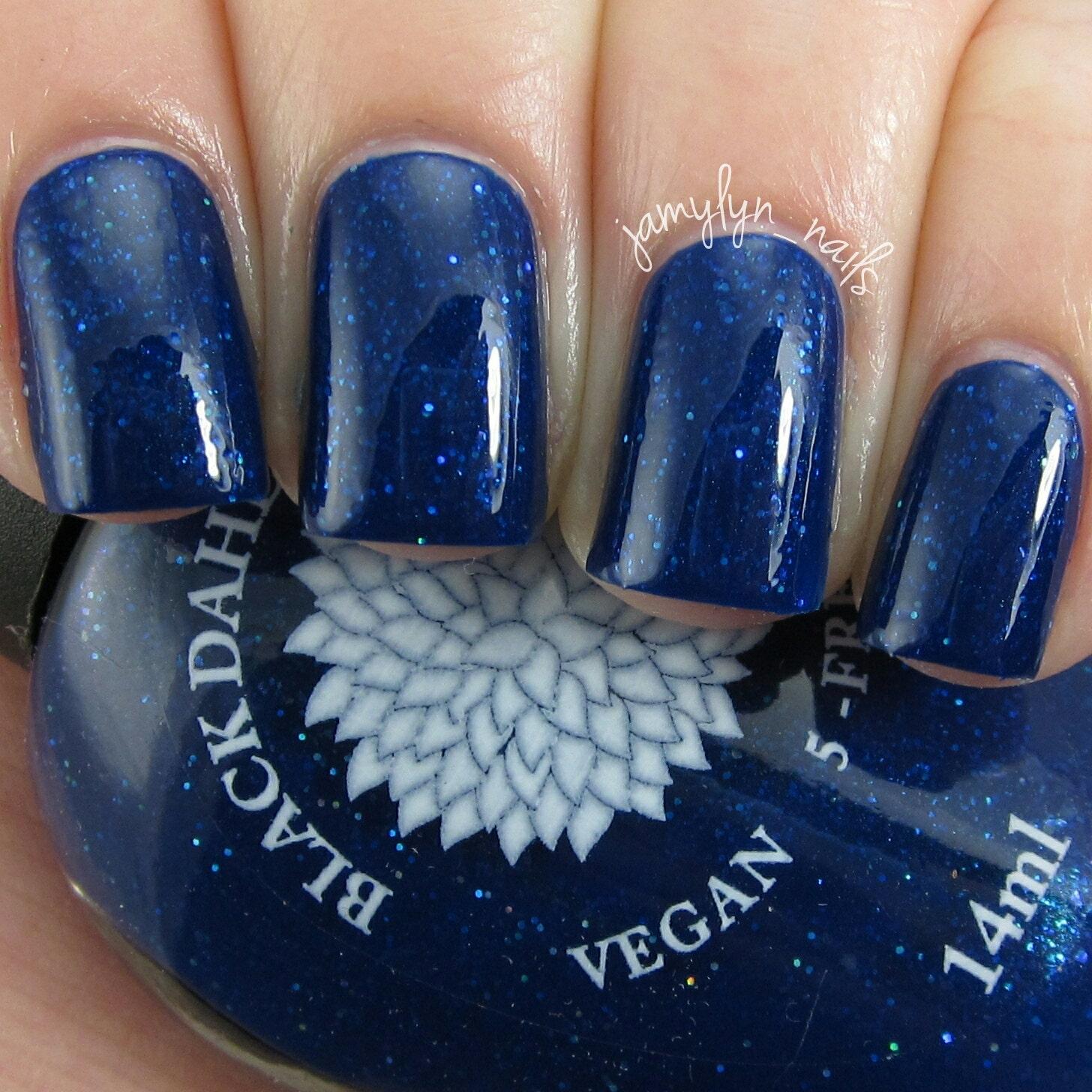 Black Nail Polish What Does It Mean: Brilliant Dark Blue Nail Polish With Glitter Anf Flakes
