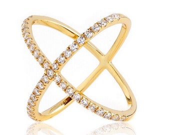 Minimalist 2.45 TCW Yellow Gold Pave CZ Cubic Zirconia X Geometric Crisscross Circle Orbit Ring .925 Sterling Silver Size 5-10