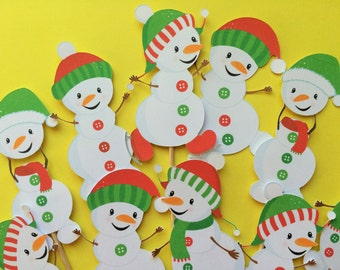 Snowman cupcake toppers, 10 snowman toppers, snowmen toppers, snowman cake toppers, snowman party, Christmas cupcake toppers, Christmas