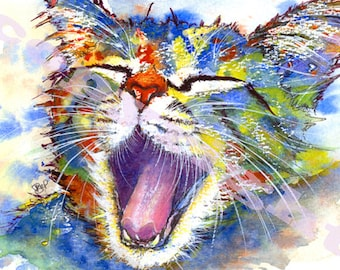 CAT PRINT Picture Cats Kitten Print of Original Watercolour Painting Watercolor Chat Katze Painting Picture Art Artwork by Josie P.