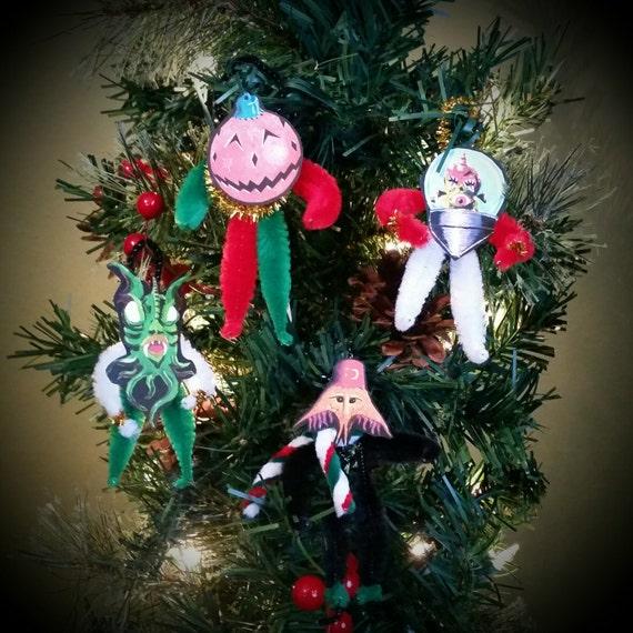 Detroit Kaiju Vintage Chenille Holiday Ornaments - Monsters for your Christmas Tree! (#1 Vihreku, Cal, Red Ornament Head, Kimyonagar)