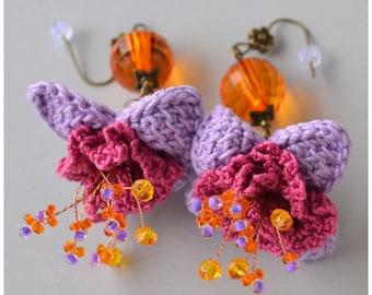 SALE, quirky boho purple  earrings, ooak crochet flowers, statement boho dangles, hippie boho crochet jewellery, purple orange earrings