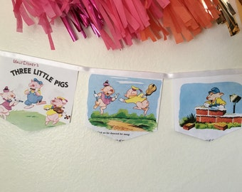 The Three Little Pigs book banner upcycled book