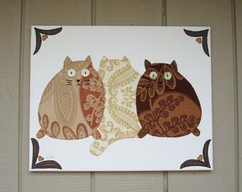 3 Fat Cats #1 Fabric Wall Art