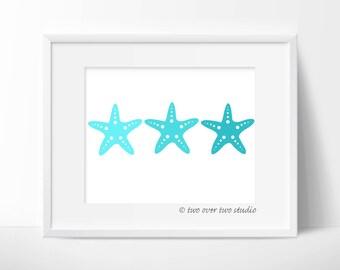 Aqua Starfish Print: Digital Printable Art for Beach Decor, Nautical Nursery