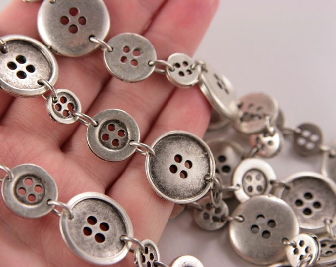 Birthday Gift For Her Button Bib Long Silver Necklace Chain Statement Necklace Silver Buttons Beads