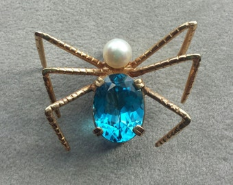 Vintage 14k yellow gold gemstone spider brooch, gold pin, blue topaz, akoya pearl