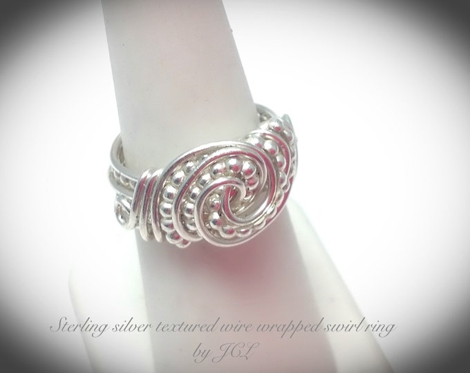 Sterling silver textured wire wrapped swirl ring