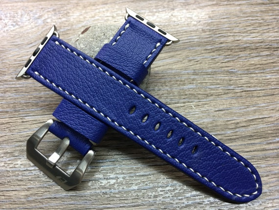 Apple Watch Strap | Apple Watch Band | Leather Watch Strap | Leather Watch Band | Deep blue Colour Leather For Apple Watch 38mm & 42mm