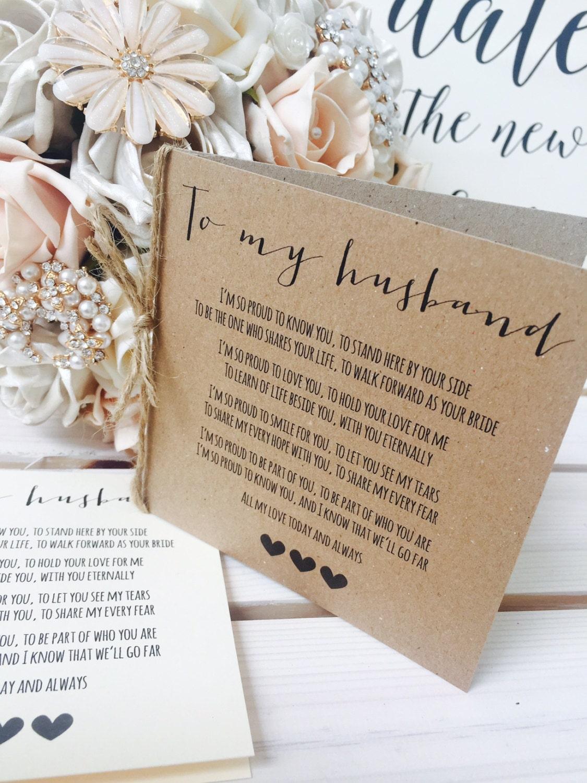 Vintage/Rustic 'To My Husband' Wedding Day Poem