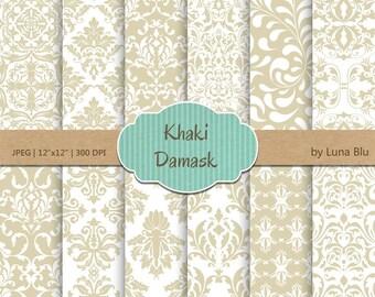 "Damask Digital Paper: ""Khaki Damask Patterns"" khaki digital paper, for cardmaking, invitations, neutral scrapbooking paper"