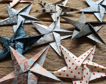 Origami Stars ~ Handmade Paper ~ Paper Stars ~ Origami Decorations ~ Set of 10