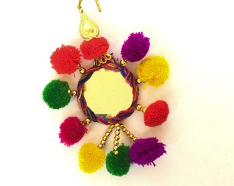 Hand Made Jaipur Colorful Tassel with Pom Poms, Trinket and Circular Mirror - Set of 4