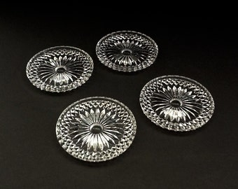 Glass Coasters, Set of 4, Diamond & Starburst Design, Retro Barware
