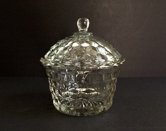 Mid Century Fostoria American Clear Glass Covered Bowl, Cubist Design