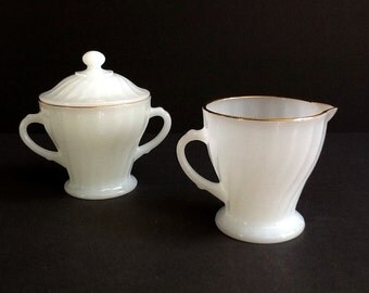 Anchor Hocking Fire King Milk Glass Creamer & Lidded Sugar Bowl, Swirled Milk Glass, Gold Trim