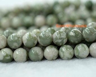 "15.5"" Natural Lucky jade 6mm/8mm/10mm round beads, Green white color gemstone, semi-precious stone, natural jade beads, peace jade beads"