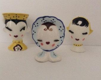 Vintage Napco Family Trio Of Mini Headvases