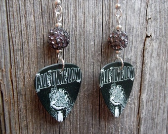 All Time Low Guitar Pick Earrings with Gray Pave Rhinestone Beads