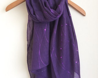 Ladies Purple Scarf with Purple Metallic  Swirl and Dot Abstract Print Ladies Scarf Women's Scarves Wraps