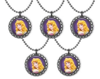 5 Disney Princess AURORA Sleeping Beauty 3D Bottle Cap Necklace Birthday Party Favors