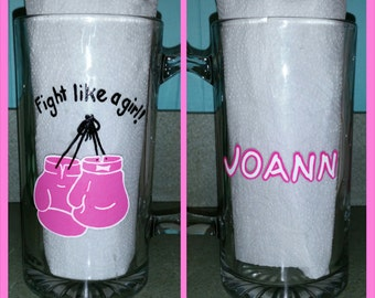"""Hand painted """"Fight like a girl!"""" personalized Breast Cancer glass"""