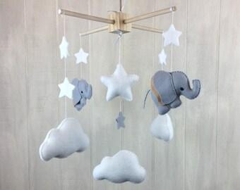 Elephant mobile - baby mobile - cloud mobile - gender neutral mobile - baby crib mobile - baby mobiles - nursery mobile - crib mobile