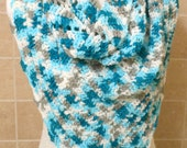 crochet  ladies summer scarf, lightweight wrap, triangle scarf, ladies accessory, great for cool days / evenings on vacation,  Reduced price