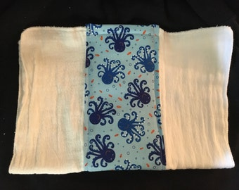 Blue Octopus Burp Cloth