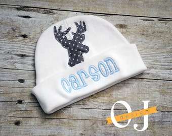 Personalized Baby Boy Baby Blue and Grey Deer Buck Newborn Hat - Appliqued Newborn Hat -  embroidered - Newborn Hat - Grey Baby Blue Deer