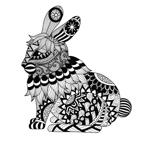 Items similar to Rabbit Coloring Page Large Easter Gift ...
