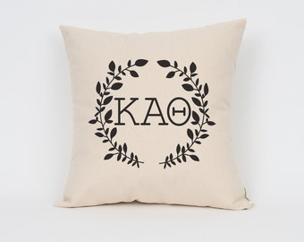 kappa alpha theta wreath pillow choose your ink color greek letter pillows sorority pillow big little gift sorority letters