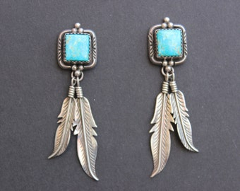 Native American Turquoise and Sterling Earrings with Hanging Feathers