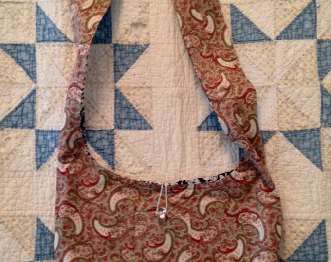 HALF PRICE ** Reversible Cross Body Sling Bag Purse. Pale Green Paisley and Charcoal Grey Damask prints. Many pockets. Great gift