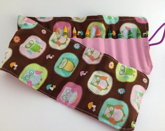 Owl crayon roll