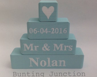 Personalised wooden blocks wedding family