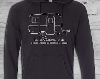 CAMPER DEFINITION SWEATSHIRT Black | Scamper Sweatshirt | Hiking Camping Sweatshirt | Vintage Camper | Men's | Women's