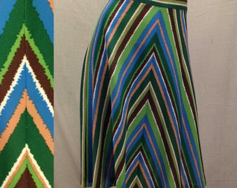 70s CHEVRON Skirt Vintage Boho Hippie Midi A-Line Skirt Kelly Green Stripe Skirt