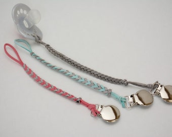 Stardust Collection: Leather Braided Binky Clip -(modern pacifier clip, boy, girl, gender neutral, faux suede, glitter, silver, pink, blue)